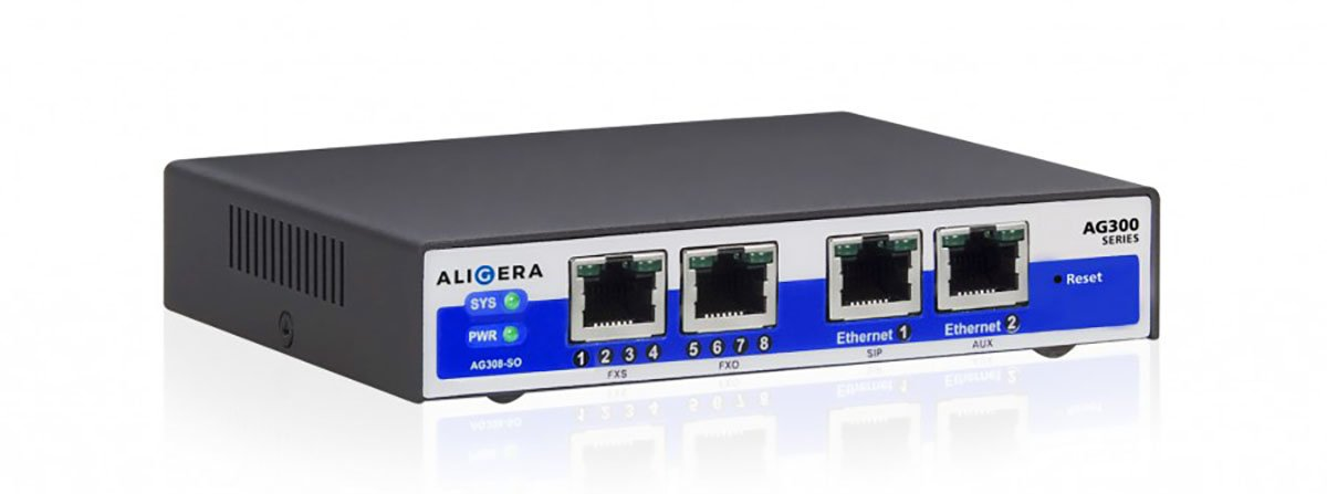Aligera AG300 - Analog SIP Gateway with FXS and/or FXO ports.